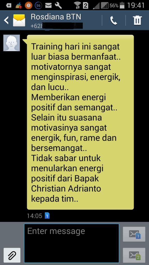 komentar positif seminar christian adrianto motivator